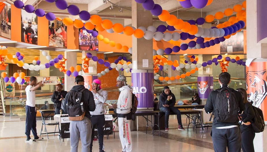 Student union decorated for homecoming