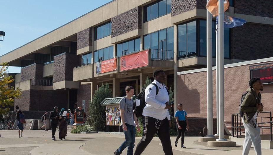 A photo of students walking passed the front of Campbell Student Union on a sunny day