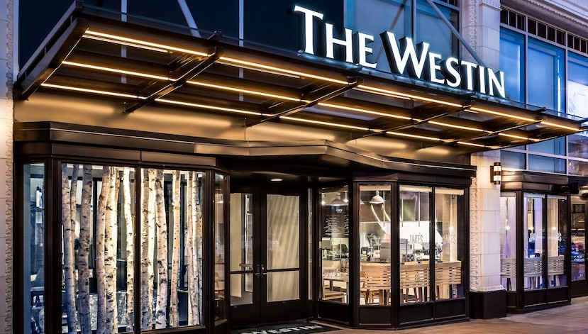 The Westin's entrance at night