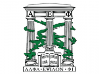 Alpha Epsilon Phi Logo with three pillars covered in ivy