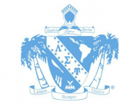 Lambda Sigma Upsilon logo - light blue shield with palm trees