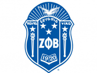 Zeta Phi Beta Logo of a shield with their Greek letters with torches on each side and an eagle above